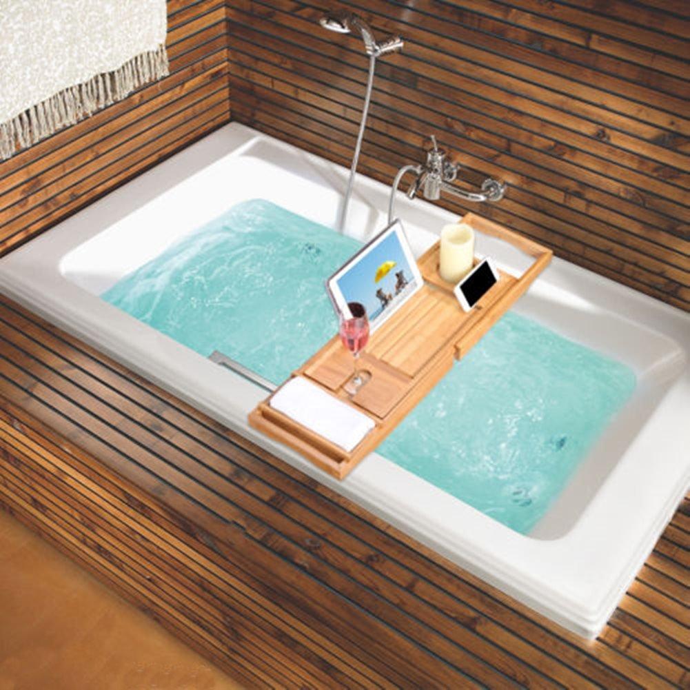 Amazon.com: Bathroom Bamboo Bath Caddy Wine Glass Holder Tray Over ...