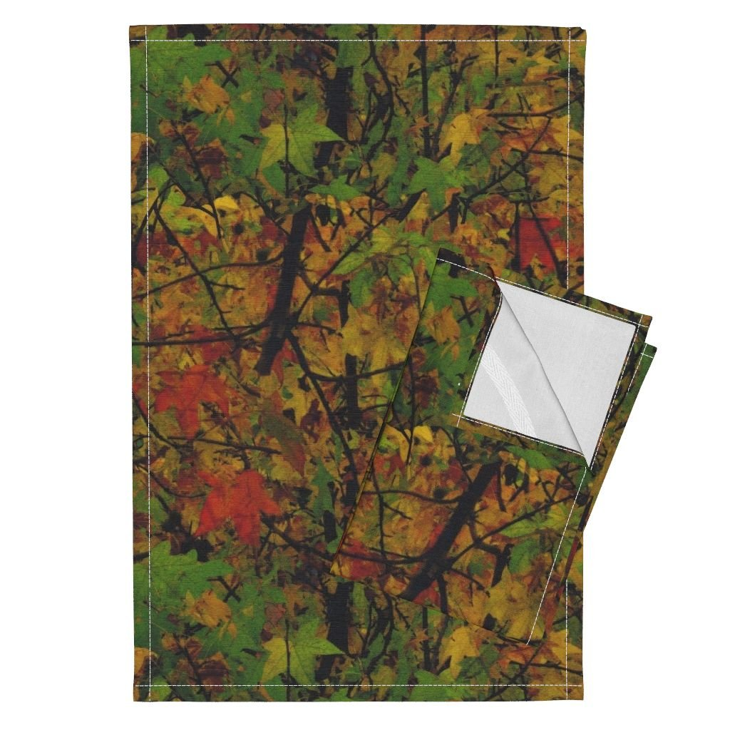 Roostery Trees Leaves Nature Photographic Camouflage Woods Fall Tea Towels The Wild Wood ~ Autumn Dreams by Peacoquettedesigns Set of 2 Linen Cotton Tea Towels