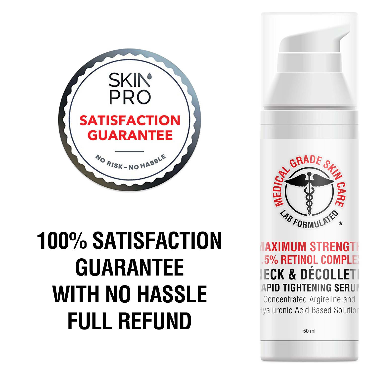 Neck & Décolleté Tightening Serum   Best Anti-Aging Firming Neck Cream Made With Maximum Strength 2.5% Retinol Complex   Concentrated With Argireline and Hyaluronic Acid by SkinPro (Image #7)