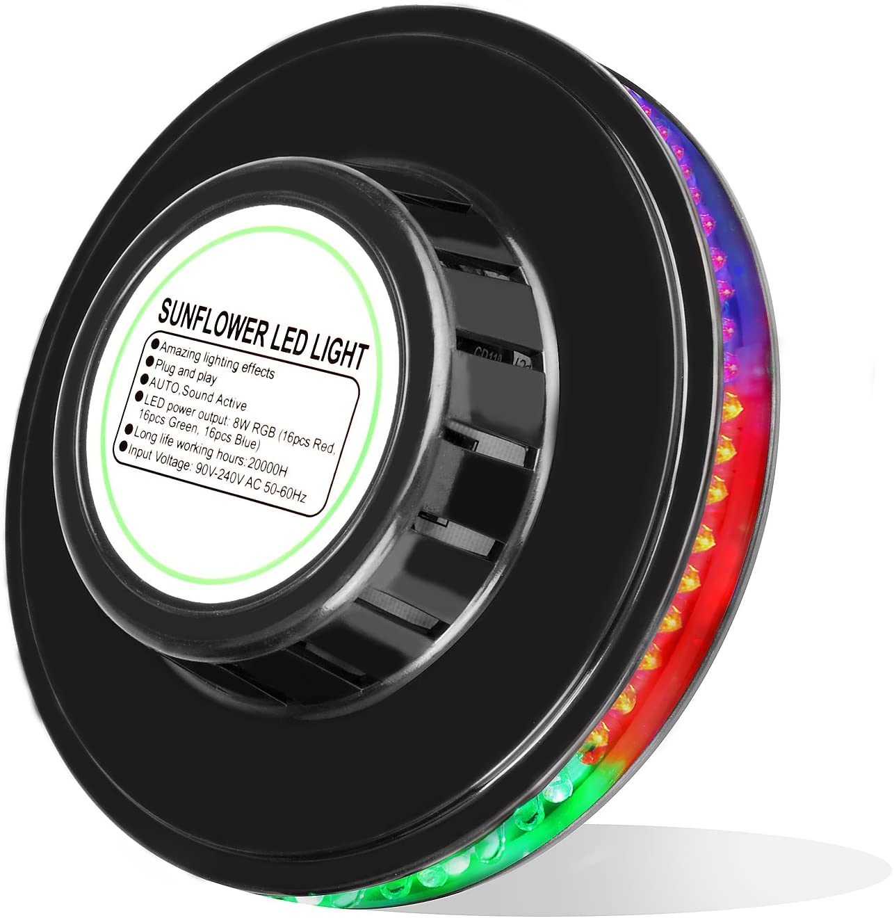 3W RGB+Weiß Wiederaufladbar LED Taschenlampe Rotating Discokugel Projektor