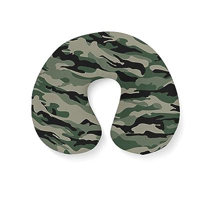 Military camuflaje hinchable cuello cojín de viaje, verde ...