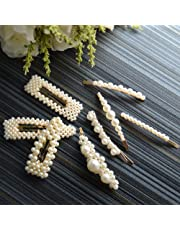 Pearls Hair Clips for Women Girls 8pcs - Large Bows/Clips/Ties for Birthday Valentines Day Gifts Bling Hairpins Headwear Barrette Styling Tools Accessories