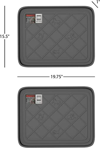Stalwart Weather Boot Tray-Small Water Resistant Plastic Utility Shoe Mat for Indoor and Outdoor Use in All Seasons Set of Two, Dark Grey