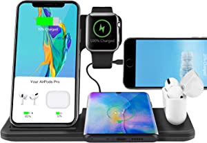 Xperg Wireless Charger Stand for Apple Watch 5/6 Airpods Pro, 5 in 1 30W Fast Wireless Charging Station Dock Compatible with iPhone 11 12 Mini Pro Max Xr X Xs Max 8 Plus/Qi-Certified Phones