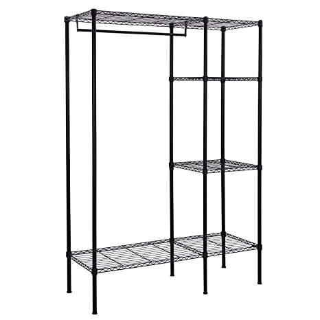 SONGMICS LGR12P - Perchero de pie (Metal, Estable, con Barra, 180 cm de Altura), Color Negro
