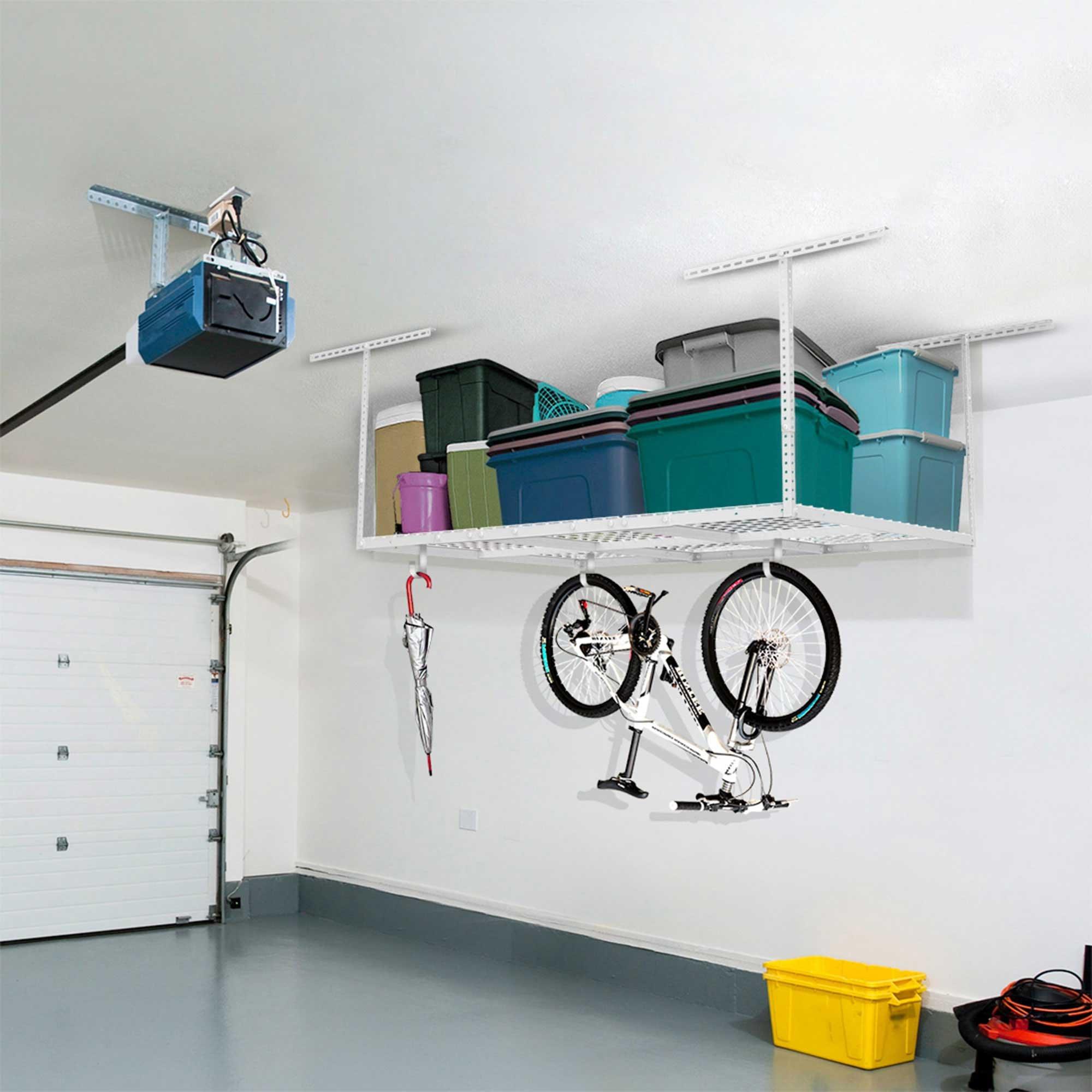 FLEXIMOUNTS 4x6 Heavy Duty Overhead Garage Adjustable Ceiling Storage Rack, 72'' Length x 48'' Width x 40'' Height, White