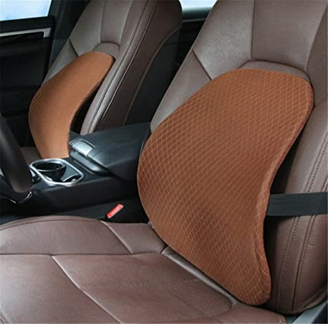Ecloud Shop Memory Foam Lumbar Support Cushion Ergonomically Design Mesh Lumbar Support Cushion with Elastic Buckle for Car Seat-Black