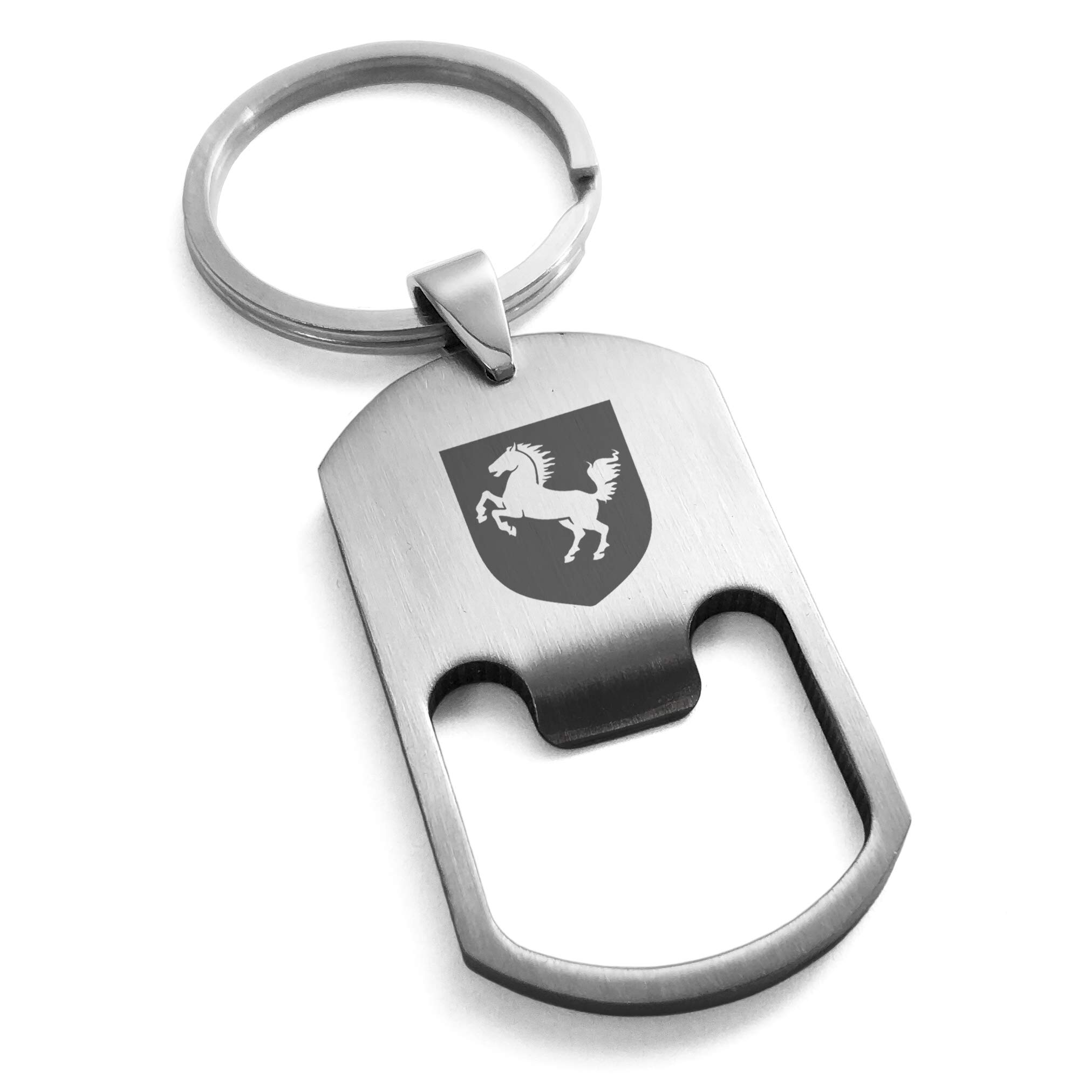 Tioneer Stainless Steel Horse Battle Coat Arms Shield Engraved Bottle Opener Dog Tag Keychain Keyring