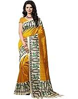 e-VASTRAM Women's Mysore Art Silk Printed Saree With Tassel/Kutch (NSTASSELY_Yellow)