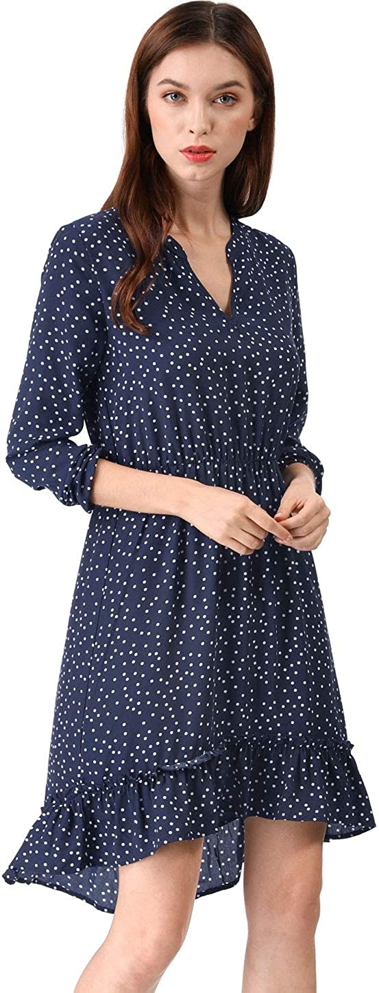 Allegra K Women's V Neck Polka Dots Lightweight Pullover Ruffle High Low Dress