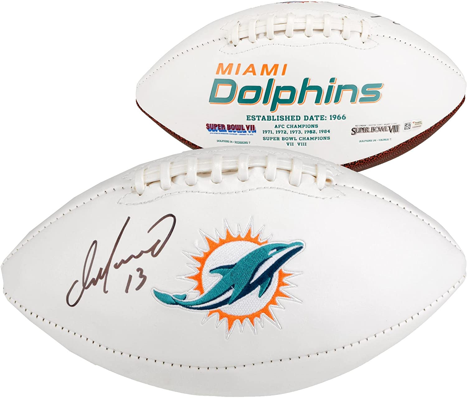 Dan Marino Miami Dolphins Autographed White Panel Logo Football - Fanatics Authentic Certified - Autographed Footballs