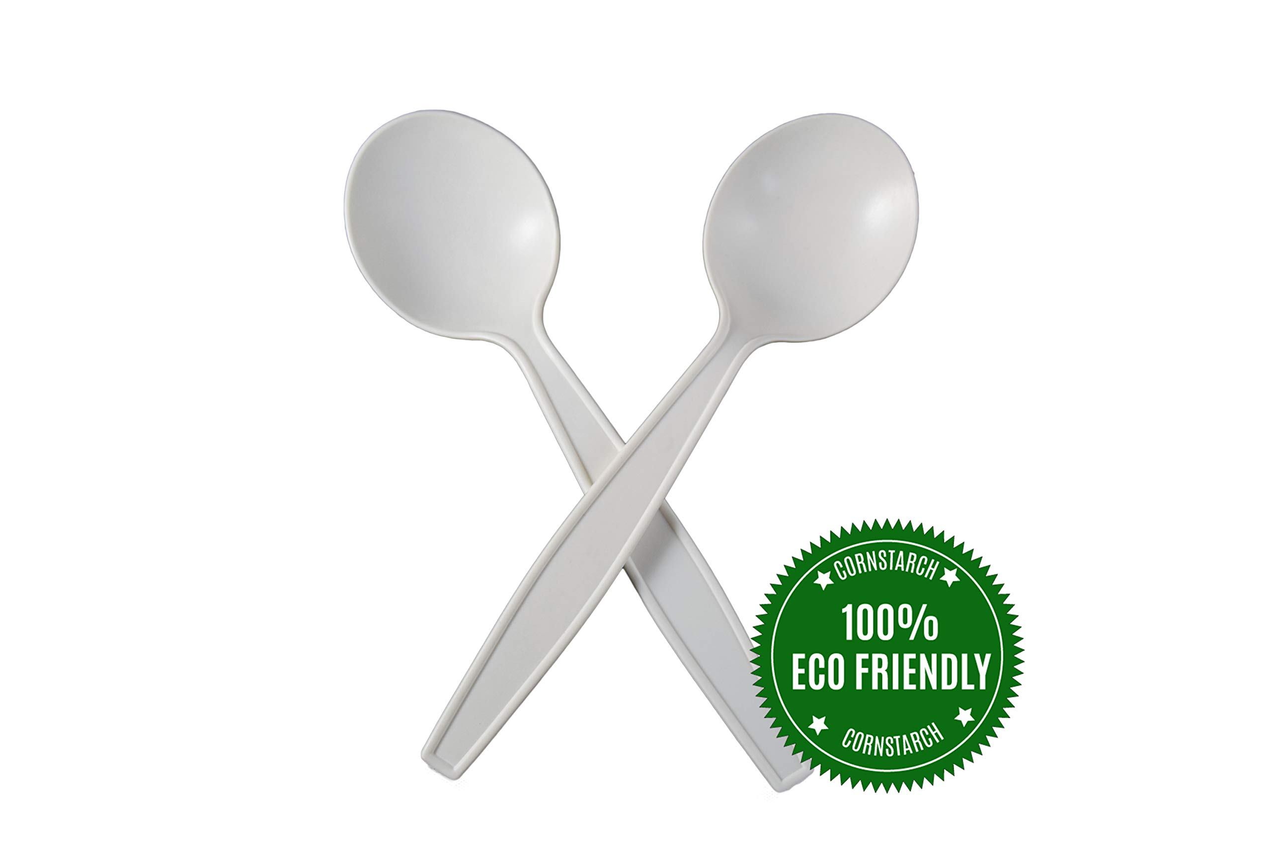 HeloGreen Eco-Friendly Cornstarch 6'' Disposable Soup Spoons: Heavyweight Heavy Duty Elegant Alternative To Plastic Spoons, Plasticware Utensils Cutlery for Party Supplies, Wedding - Ivory (100 Set) by HeloGreen