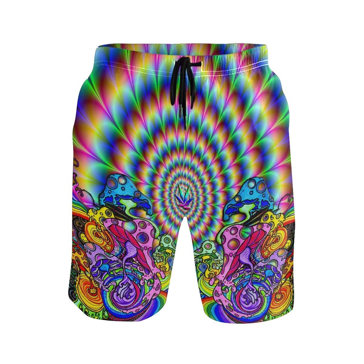 COVASA Mens Summer ShortsMind Teaser Psychedelic Fractal Color