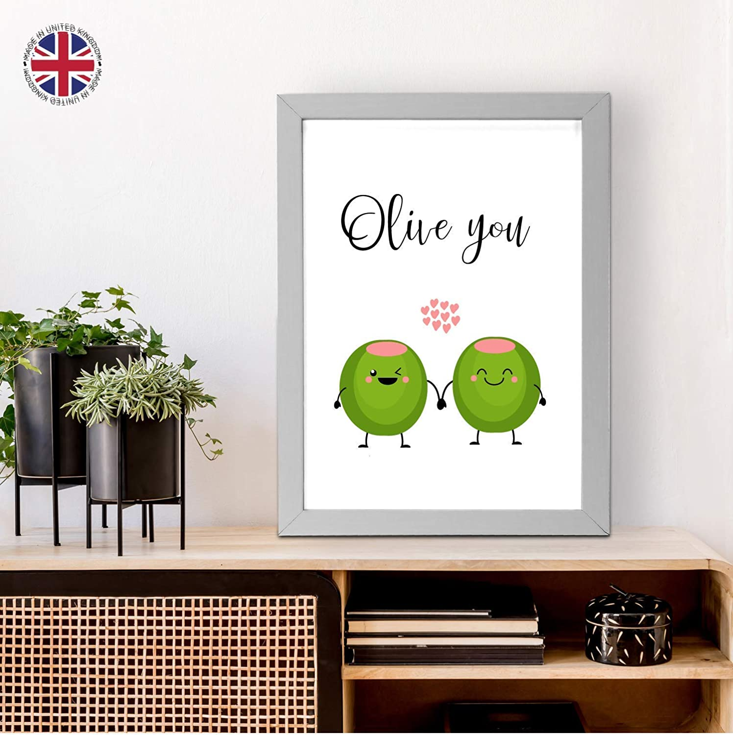 Fruit Funny Gift for a loved one A4 and A5 Wooden Frames Available Made in UK CUSTOMISED Cute A3 Olive You Quality Print Home Decor Happy