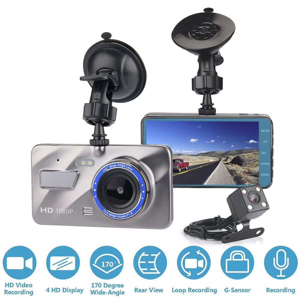 Front and Rear Dash Cam, OXOQO HD 1080P Car Dashboard Camera 170 Degree Wide Angle, 4 Inches Large IPS Screen Dual Drive Cam with G-Sensor,Loop Recording,Night Vision,WDR, Parking Mode