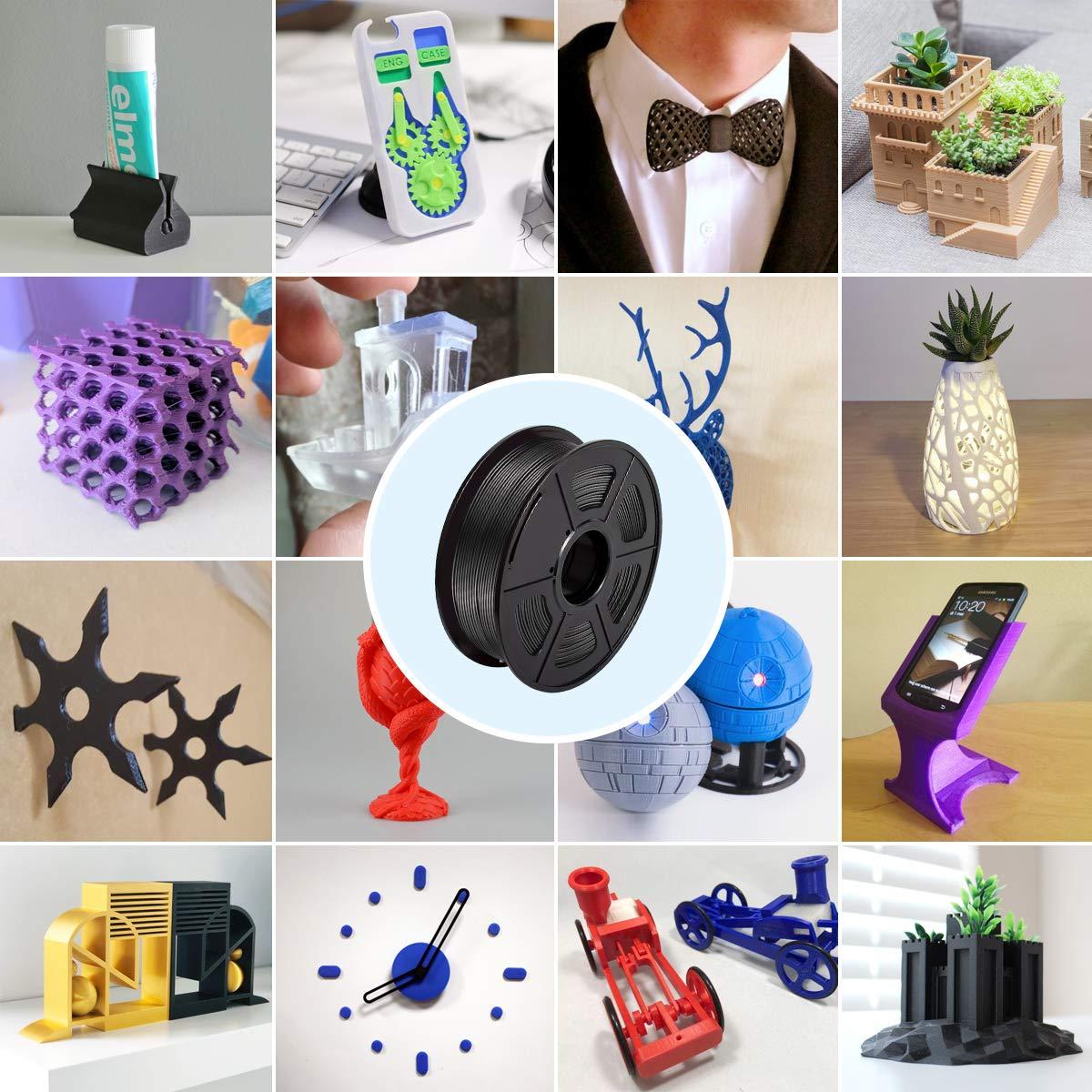 Spool // PLA Filamento Negro /& Gris,3D Warhorse Pla Filamento de Impresion 3D,3D Printer Filament 1.75mm,Dimensional Accuracy 0.02 mm,Polylactic Acid Material,1.75mm PLA,2KG