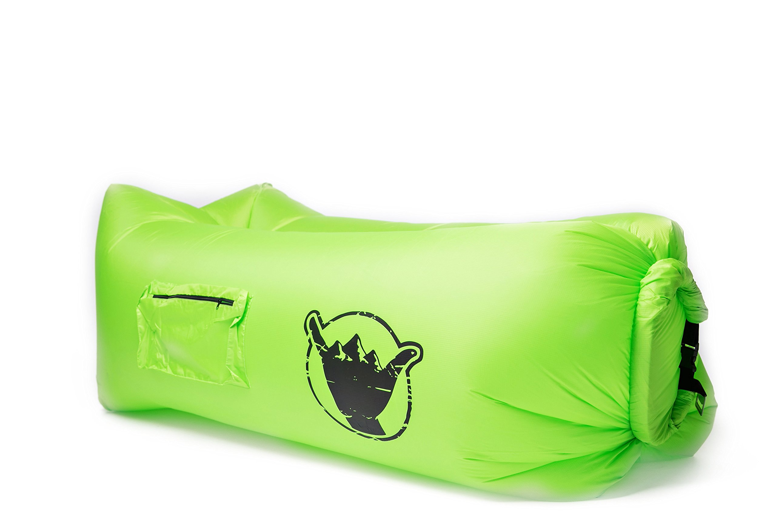 SweetSon Inflatable Lounger- Carry Bag, Securing Stake, Bottle Opener, Cup Holder, Large Pocket with Zipper - Lightweight, Durable, Portable - Beach, Pool and Camping - Outdoor and Indoor Use (Green) by SweetSon