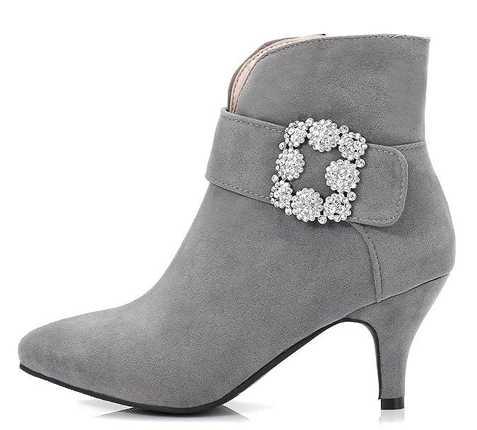 Easemax Damen Elegant Pointed Toe Strass Riemen Ankle Boots Pumps Grau 35 EU CReiJ