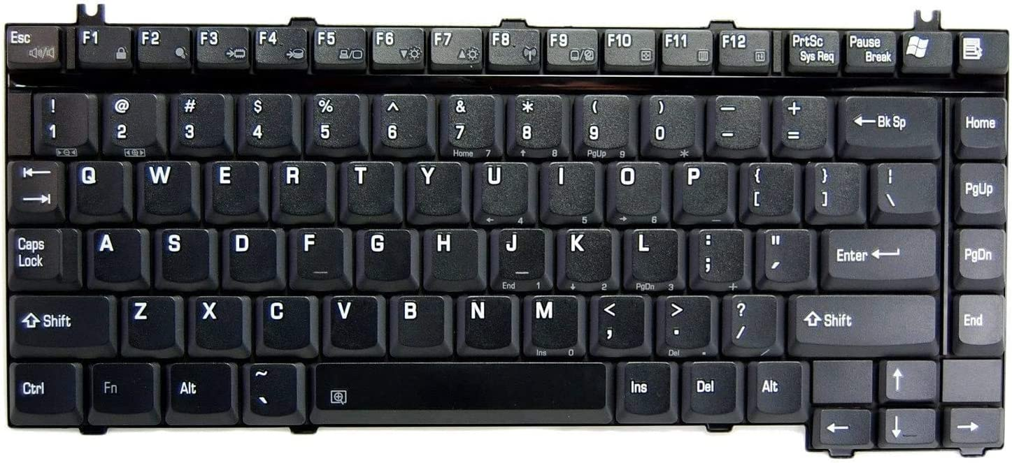 HQRP Laptop Keyboard Works with Toshiba Satellite A135-S2426 / A135-S4407 / A135-S4417 / A135-S4427 Notebook Replacement