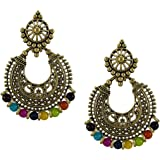 Pink City Fashion Gold Plated Pearl Jhumka Earrings Jewellery for Women