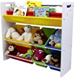 Mind Reader Toy Storage Organizer with 6 Storage Bins and Bookshelf, Kids Storage for Bedroom