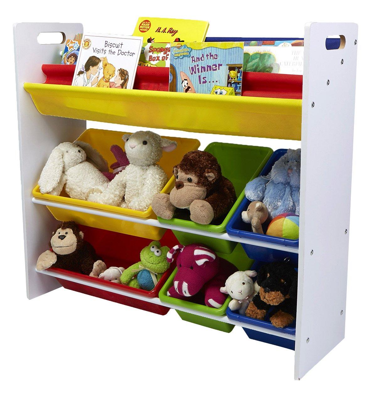 Mind Reader Toy Storage Organizer with 6 Storage Bins and Bookshelf, Kids Storage for Bedroom by Mind Reader