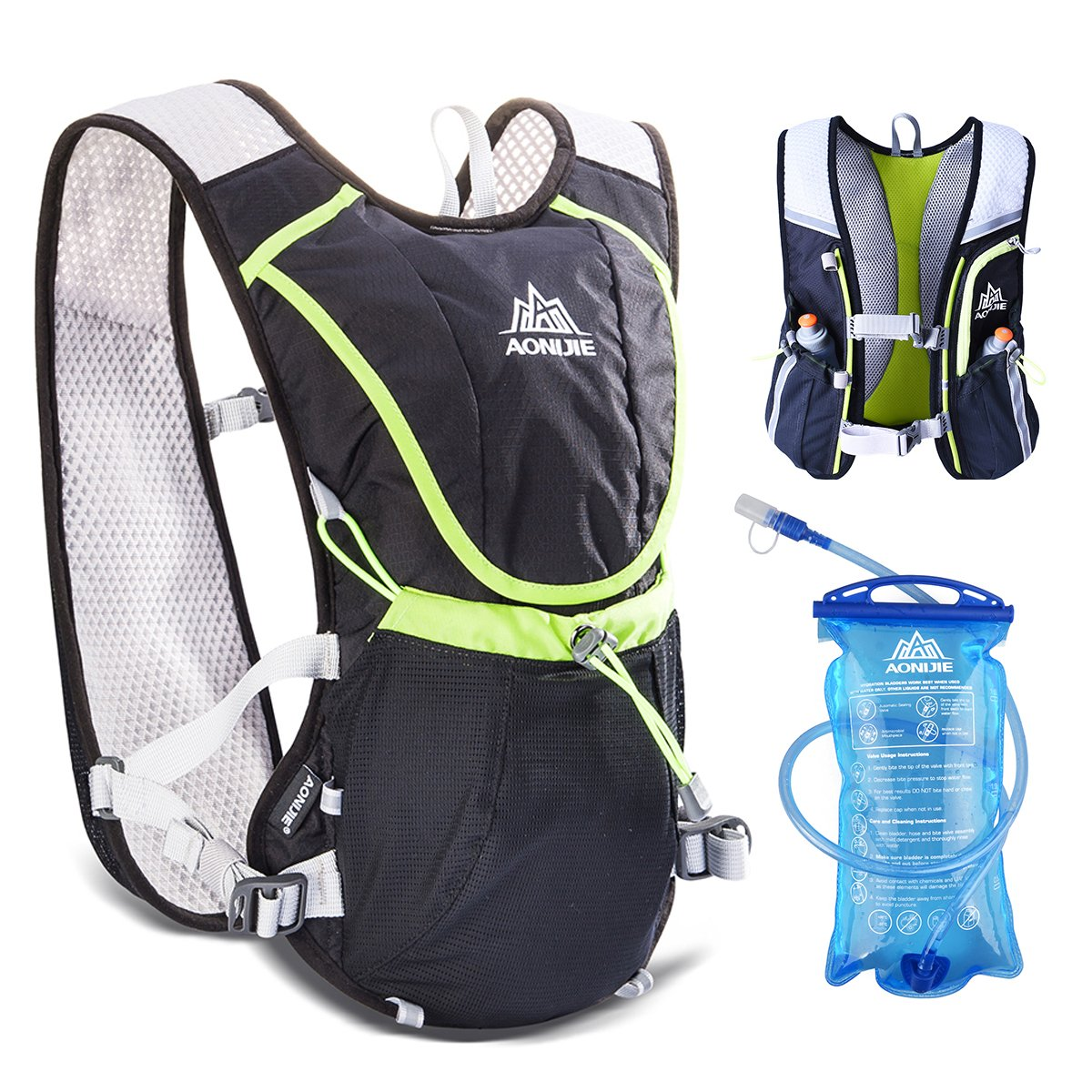 Amazon.com : JEELAD 8L Running Race Hydration Backpack Hydration Vest for Marathon Hiking Cycling (Black (8L), with 1.5L Water Bladder) : Sports & Outdoors