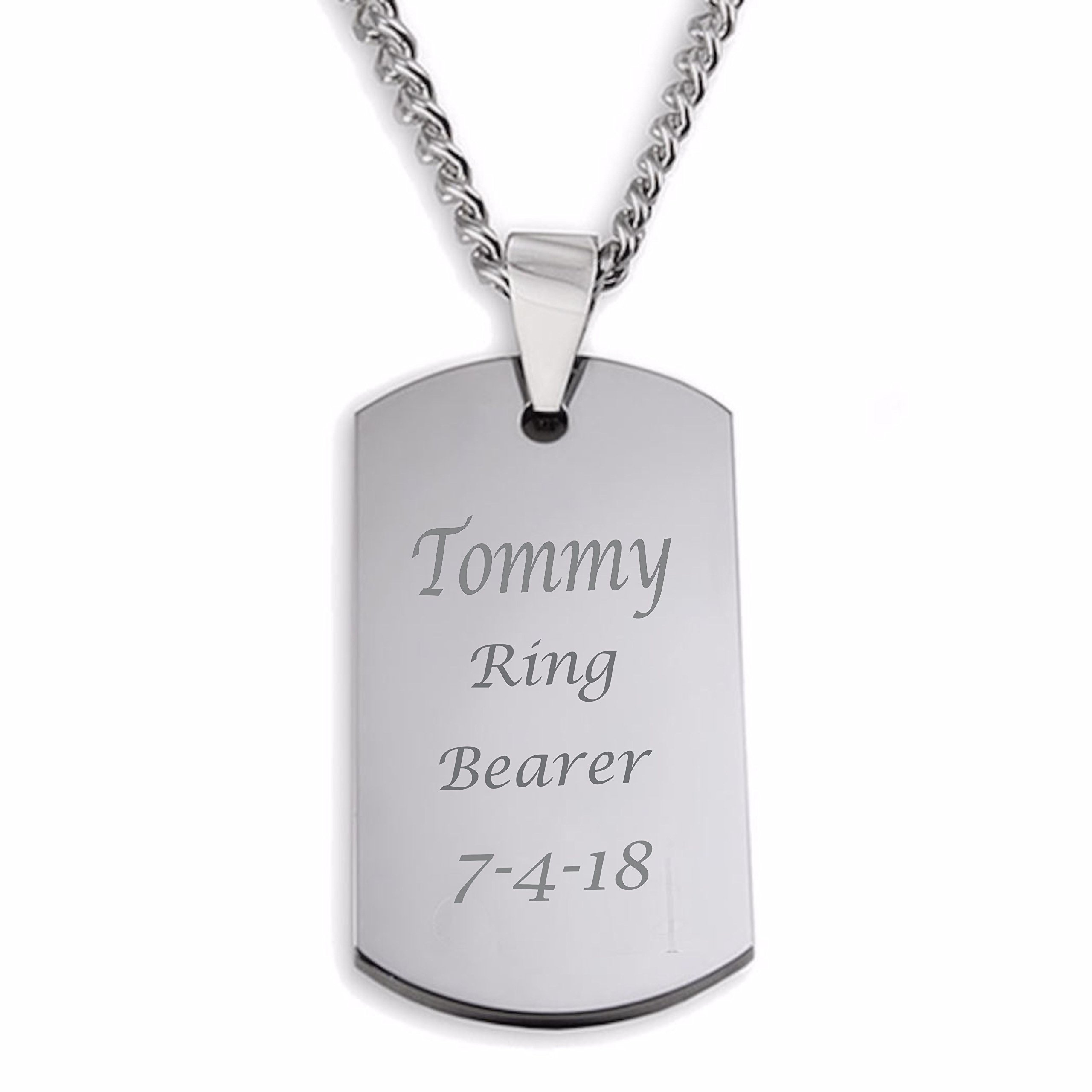 Personalized Small Stainless Steel Dog Tag Necklace