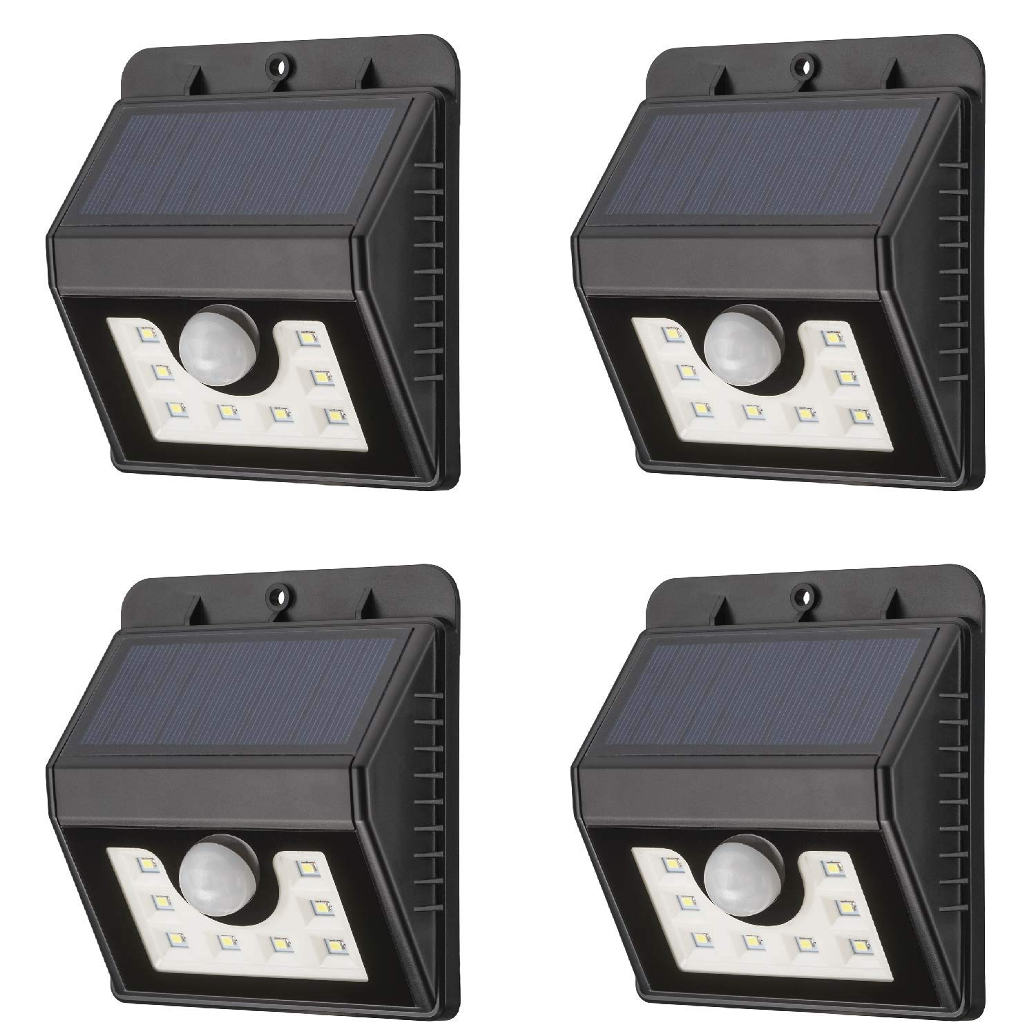 Mr Beams Solar Wedge 8 LED Security Outdoor Motion Sensor Wall Light, 4-Pack, Black by Mr. Beams