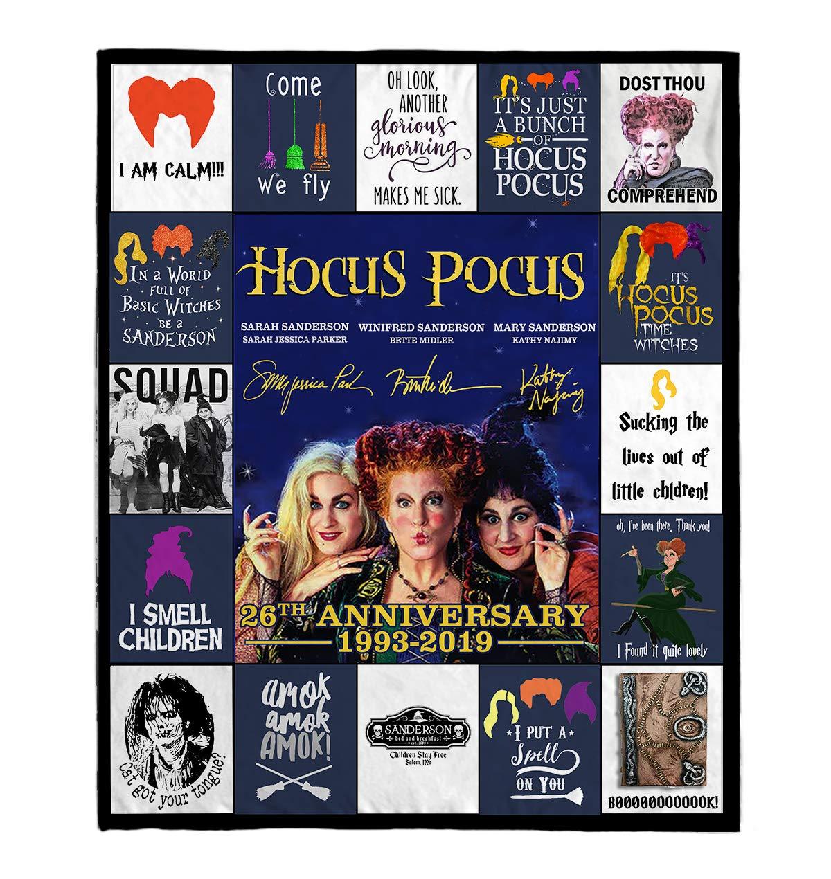 DesDirect Store Hocus Pocus 26th Anniversary Halloween Cozy Plush Fleece Blanket White Movie