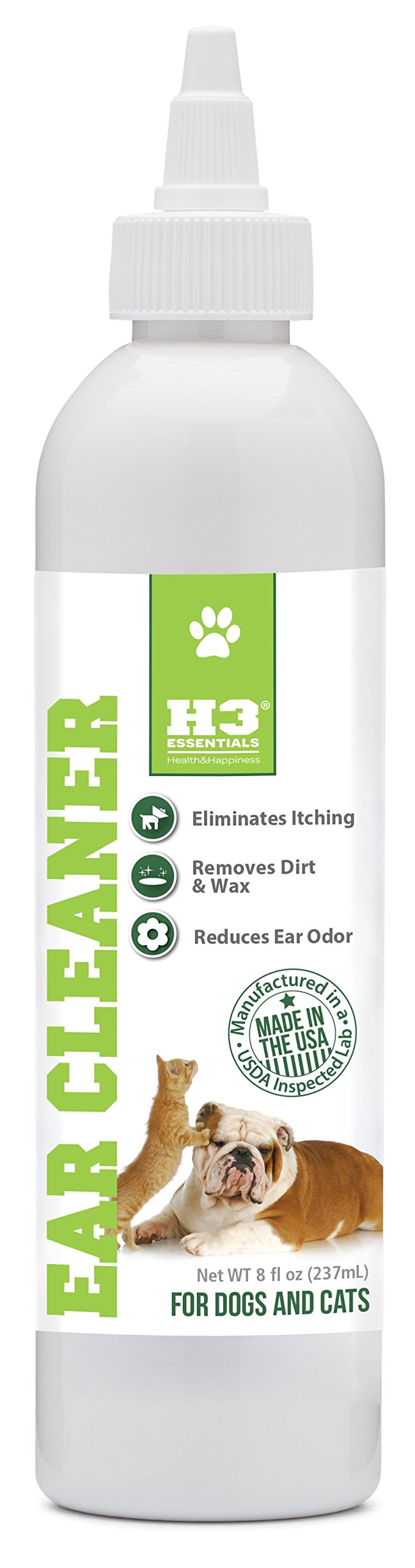 H3 Essentials Dog Ear Cleaner For Dogs and Cats with Aloe - Prevents Infection, Cleans and Dries Pets Ears - 8 oz