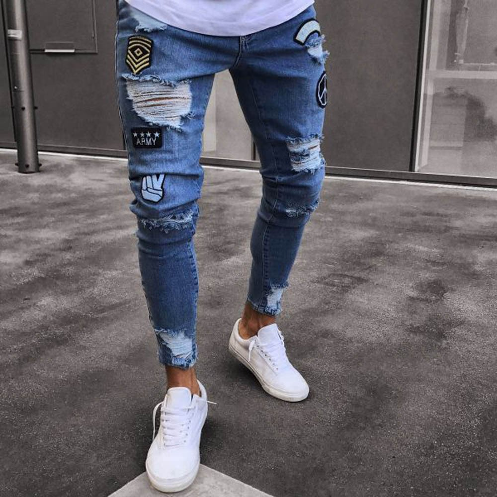 iYBUIA Personality Men Slim Biker Zipper Denim Jeans Skinny Frayed Pants Distressed Rip Trousers