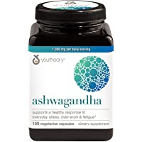 Youtheory Ashwagandha Vegetarian Capsules Net Wt (150 Count), 150 Count