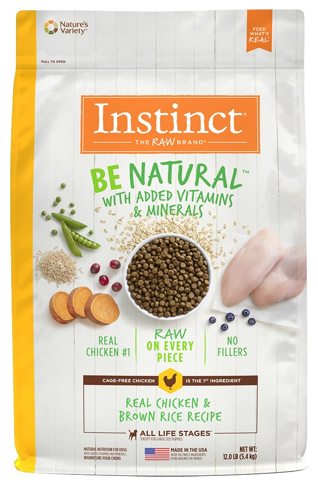 Amazon.com: Instinct Be Natural Real Chicken & Brown Rice Recipe Natural Dry Dog Food by Natures Variety, 12 lb. Bag: Pet Supplies