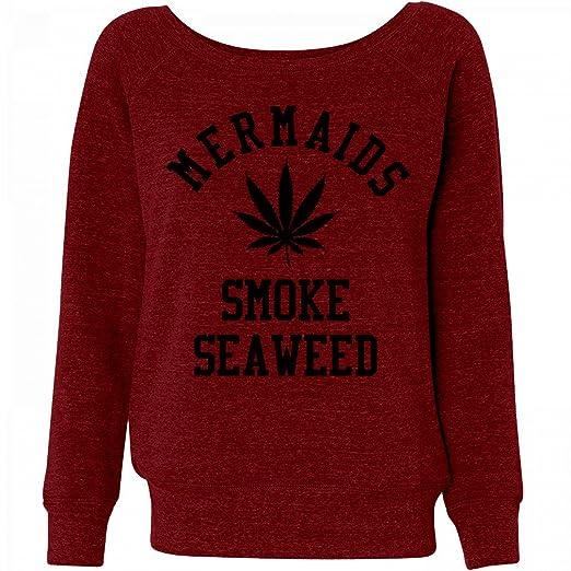 Mermaid University Smoke Seaweed: Ladies Triblend Wideneck Sweatshirt