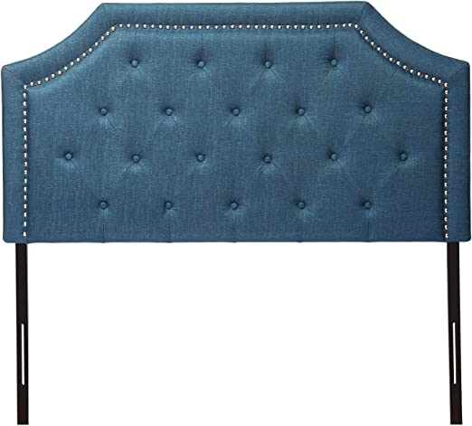 Amazon Com Home Bi Contemporary Linen Fabric Upholstered Headboard Full Queen Size With Nailheads Dark Blue