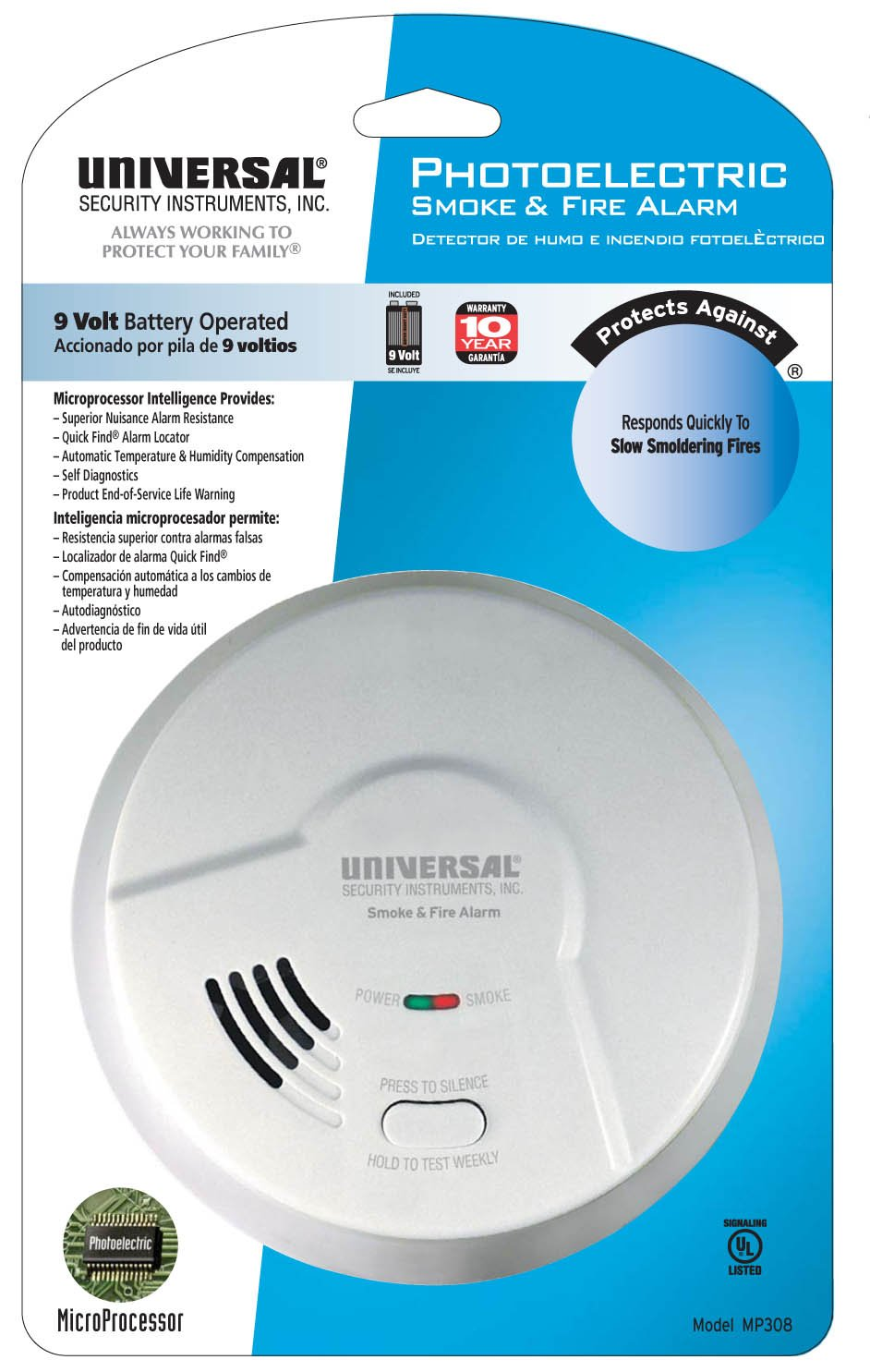Universal Security Instruments Battery-Operated Photoelectric Smoke and Fire Alarm, Model MP308