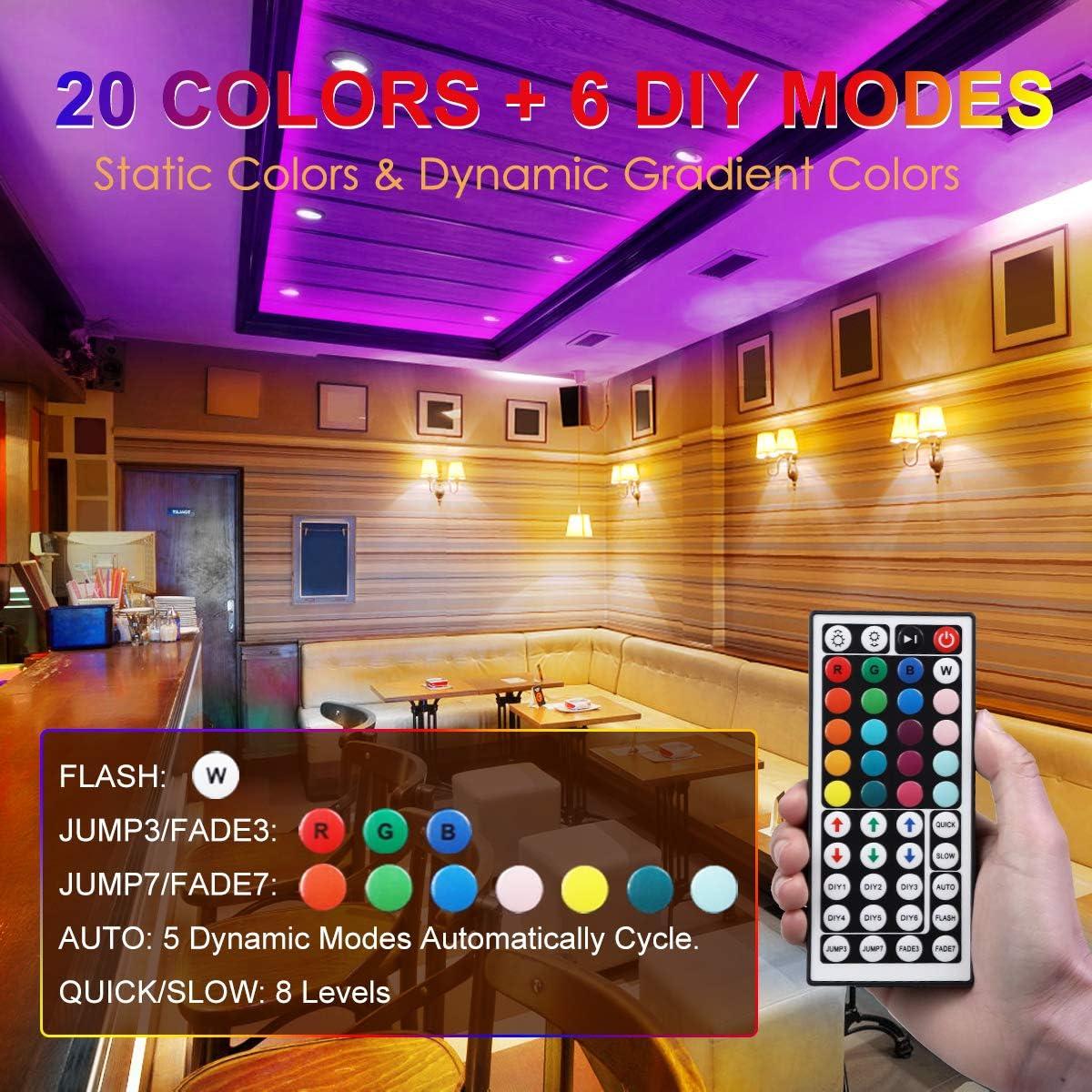 Tiras LED 10M (5M*2), IP67 Impermeable Luces LED Decoracion Habitacion, 5050 RGB 300 LEDs, 20 Colores, 6 Modos Dinámicos, Admite DIY, 12V DC Adaptador, Control Remoto de 44 Claves: Amazon.es: Iluminación