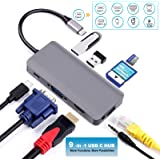 USB Hub to HDMI/VGA Adapter ULANSEN 9 in 1 USB Multiport Adapter with 4k HDMI/VGA Gigabit Ethernet, 3.5mm Audio Jack 2 USB 3.0 Ports SD/Micro Card Reader, Multifunctional Aluminum Portable Data Hub (Thunderbolt 3 Compatible) for MacBook , ASUS, Huawei,HP(Grey)