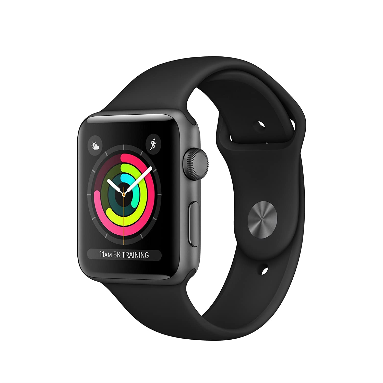 Apple Mql12 B/A Watch Series 3 Gps 42mm Space Grey Aluminium Case With Black Sport Band   (Smart Tech > Smart Fitness) by Amazon