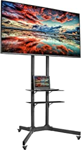 VIVO Mobile TV Cart for 32 to 65 inch LCD LED Plasma Flat Panel TVs up to 110 lbs, Height Adjustable Rolling Stand, Max VESA 600x400, Includes Additional Laptop Shelf (Bundle)
