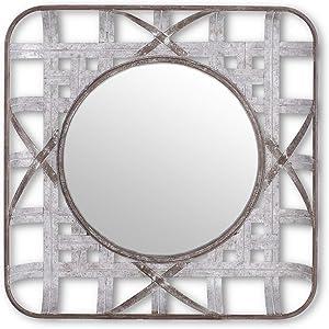 K&K Interiors 15335A-2 23.75 Inch Square Metal Tobacco Basket Mirror