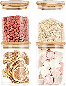 Glass Food Jars, 4-piece 17 OZ (500 ML) Food Storage Canister Sets for Kitchen Counter, Food Storage Jars for Kitchen Counter with airtight bamboo lids for Tea, Coffee, Spice, Candy, Cookie