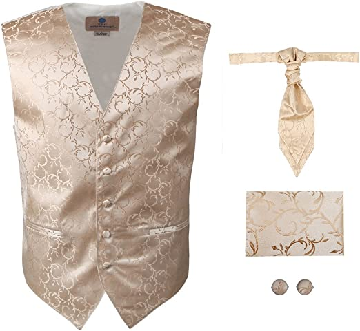 New Men/'s Vesuvio Napoli Paisley Tuxedo Vest Ascot Cravat Hankie set party White