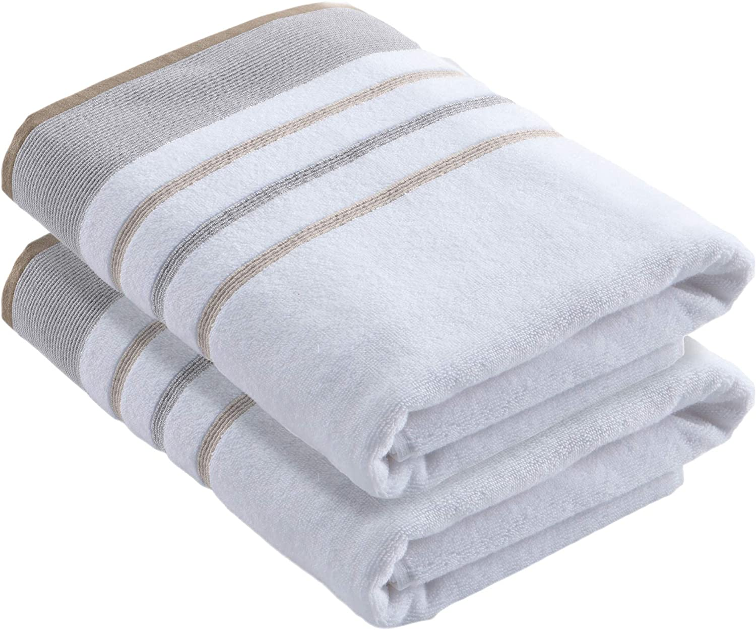 Turkish Cotton, Striped Bath Towel Set (30 x 54 inches) Oversized and Absorbent Luxury Quick-Dry Towels. Noelle Collection (Set of 2, Glacier Grey / Cappuccino)
