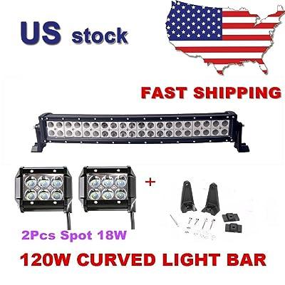 Primeprolight 120W LED Light Bar 24inch Curved Combo Beam Car Light