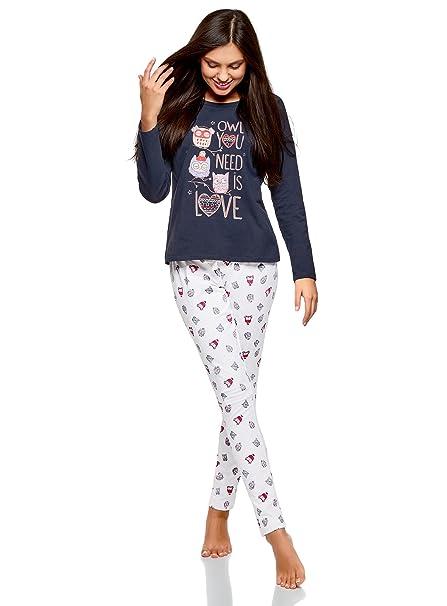 oodji Ultra Mujer Pijama de Algodón con Pantalones Estampados, Blanco, ES 42 / L
