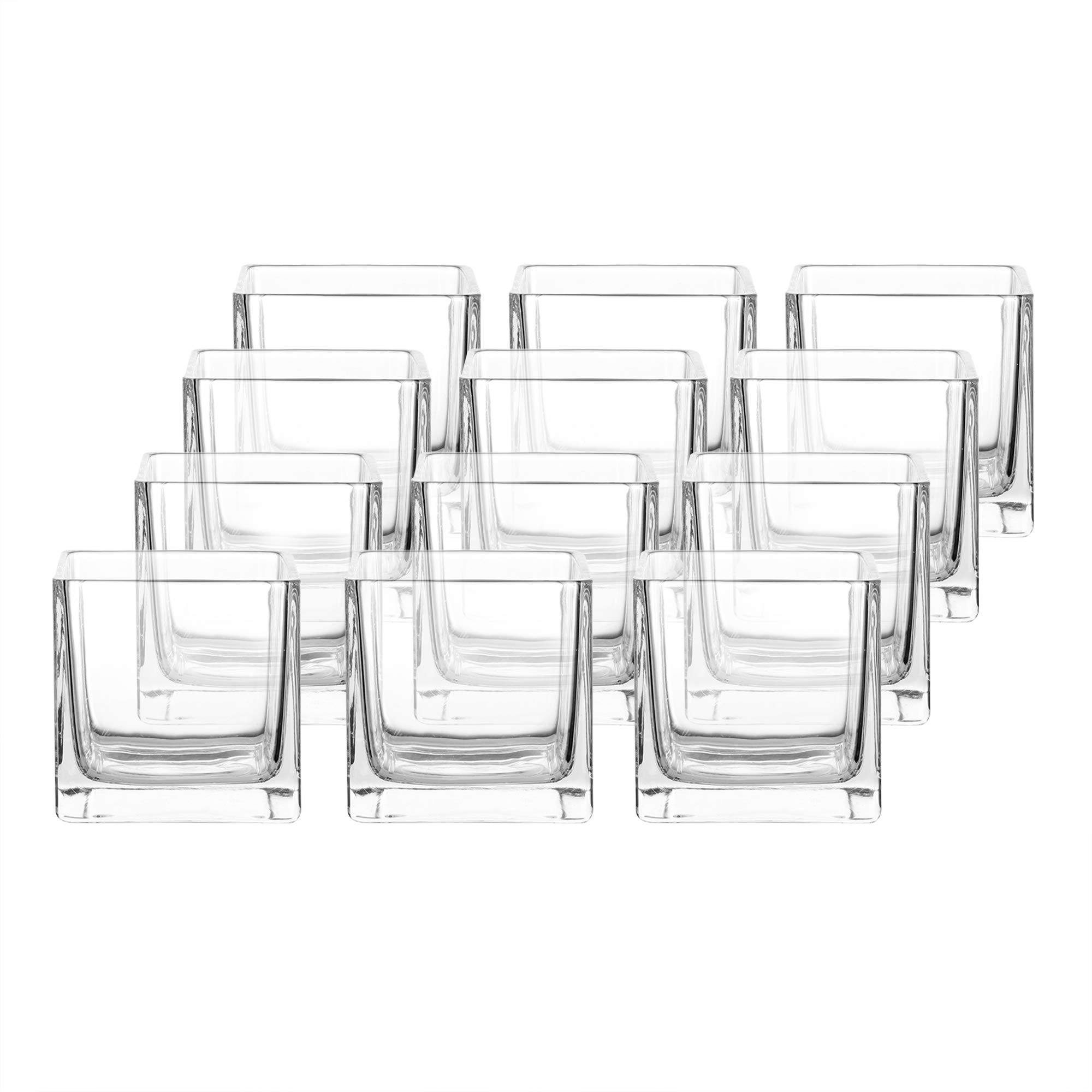 Whole Housewares 3'' Square Glass Vase, Candle Holder, 12 Pack Clear Cube Centerpiece by Whole Housewares