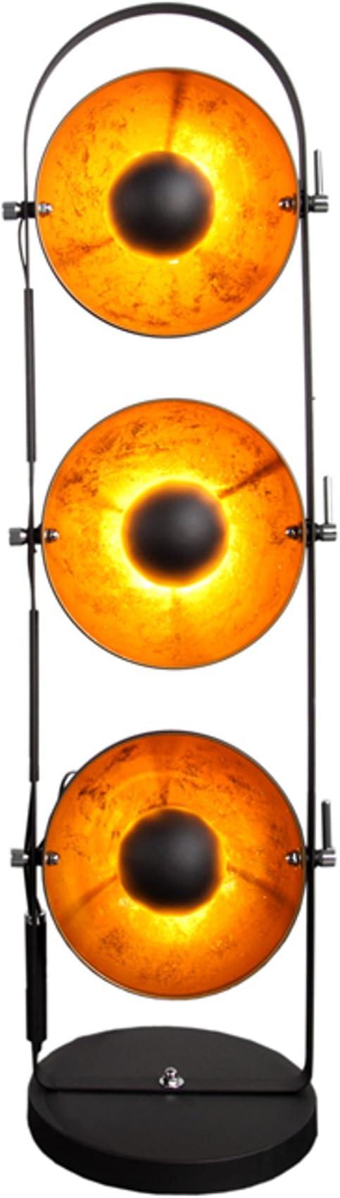 Design Stehlampe Studio Schwarz Gold Metall 3 Lampenschirme Lampe