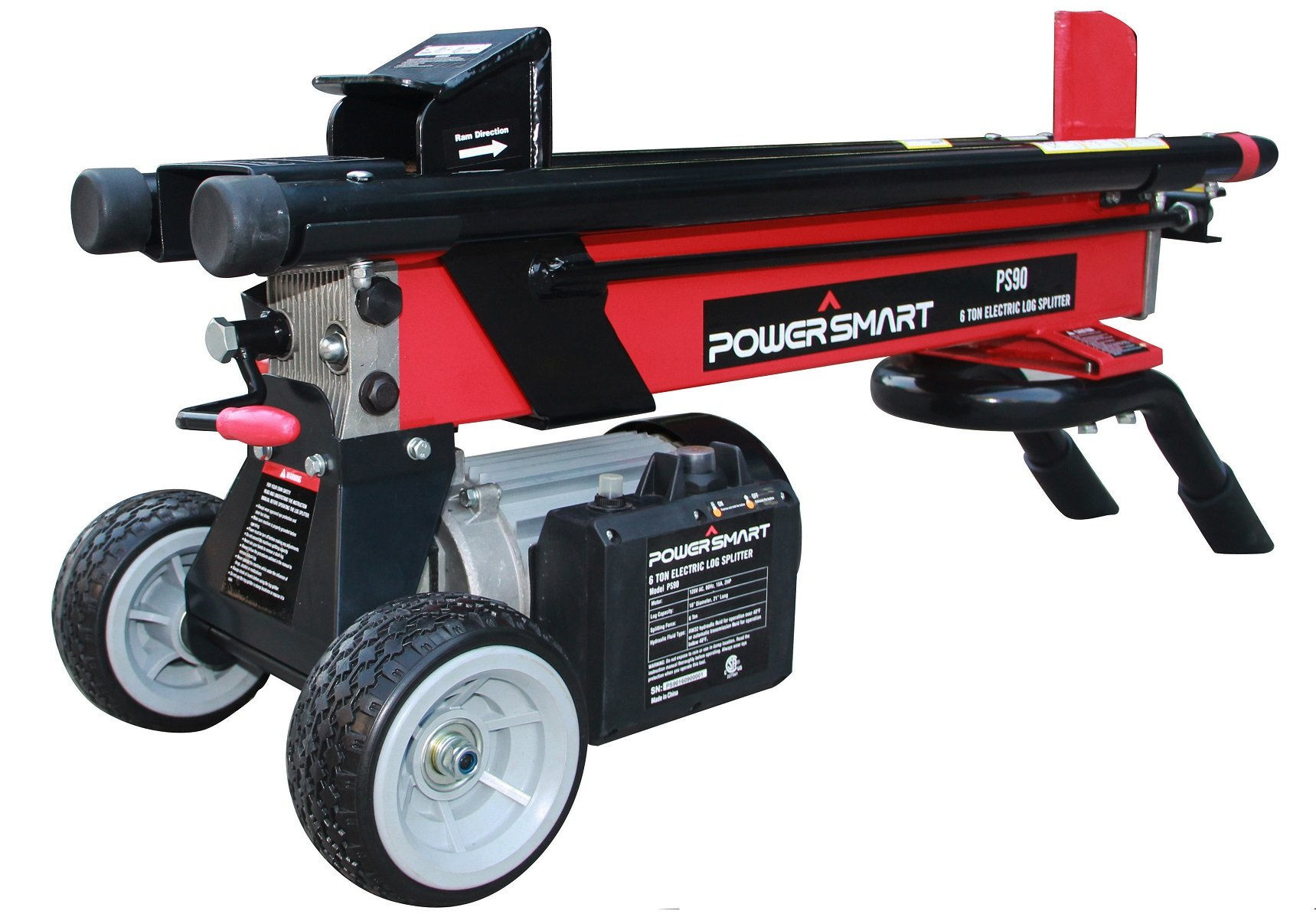 PowerSmart PS90 6-Ton 15 Amp Electric Log Splitter, Red, Black by PowerSmart